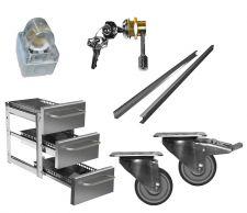 Immagine raffigurante alcuni optional per armadi, tavoli e celle refrigerate