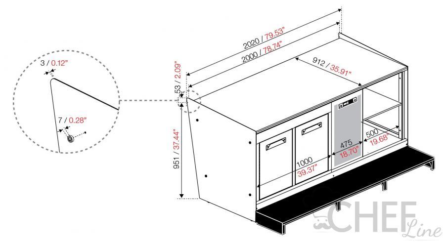 Conosciuto Banco Bar + Retrobanco Larghezza 2 Metri Professionale - Chefline YR81