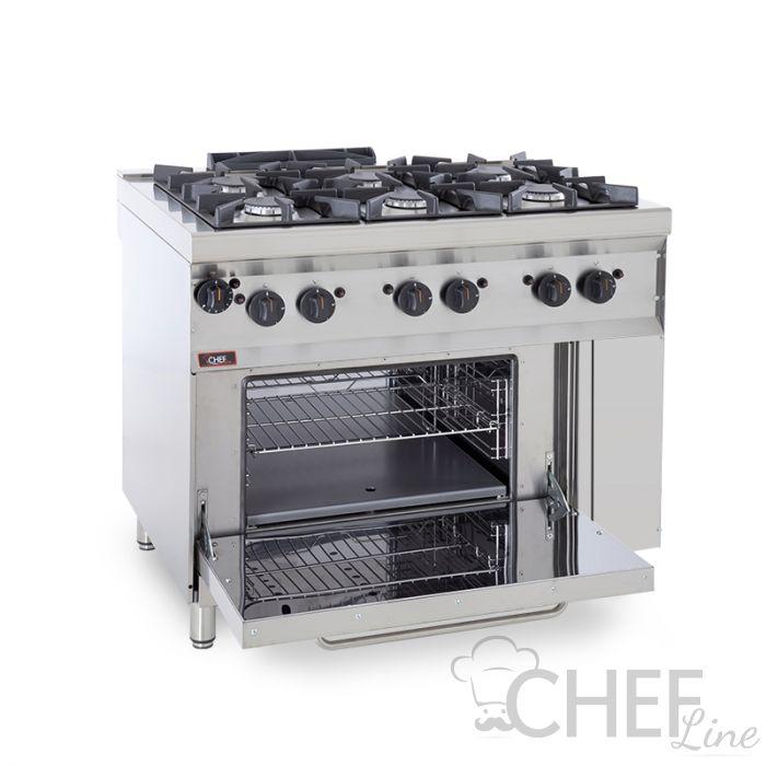 Cucina Professionale A Gas 6 Fuochi + Forno a Gas Profondità 70 cm *Prezzi  Shock*