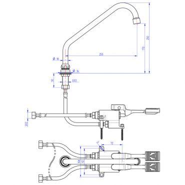 Disegno Tecnico Gruppo a 2 Pedali da Pavimento Con Erogatore Girevole