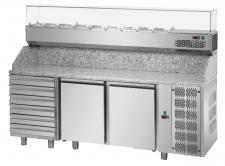 Banco Pizza 2 Porte Piano Granito 6 Cassetti Neutri+Vetrina Refrigerata Ingredienti
