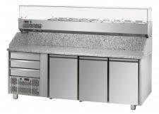 Banco Pizza 3 Porte Piano Granito 3 Cassetti Neutri+Vetrina Refrigerata Ingredienti