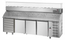Banco Pizza 3 Porte Piano Granito 6 Cassetti Neutri+Vetrina Refrigerata Ingredienti