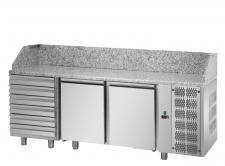 Banco Pizza Refrigerato 2 Porte Piano Granito 6 Cassetti Neutri