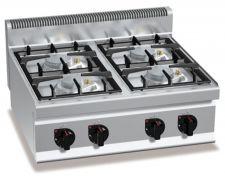 Cucina Professionale 4 Fuochi Banco Profondità 70 cm