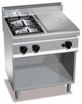 Cucina A Gas Professionale High Power A 2 Fuochi + Tuttapiastra Profondità 70 cm