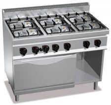 Piano Cottura Professionale 6 Fuochi Eco Power + Forno Gas Profondità 70 cm