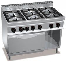 Piano Cottura Professionale 6 Fuochi + Forno Gas Profondità 70 cm
