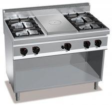 Cucina Professionale 4 Fuochi High Power + Tuttapiastra Profondità 70 cm