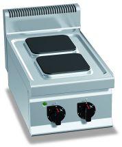 Cucina Elettrica Professionale 2 Piastre Quadre Banco Profondità 70 cm