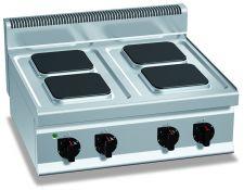 Cucina Elettrica Professionale 4 Piastre Quadre Banco Profondità 70 cm