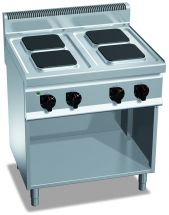 Cucina Elettrica Professionale 4 Piastre Quadre Profondità 70 cm