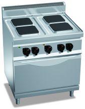 Cucina Elettrica Professionale 4 Piastre Quadre + Forno Elettrico Profond. 70 cm
