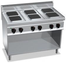 Cucina Elettrica Professionale 6 Piastre Quadre Profondità 70 cm