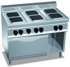 Cucina Elettrica Professionale 6 Piastre Quadre + Forno Elettrico Profondità 70 cm