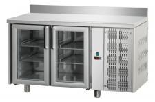 Tavolo Refrigerato 2 Porte In Vetro Con Piano E Alzatina Pr. 70 cm
