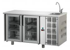 Tavolo Refrigerato 2 Porte In Vetro Con Piano E Lavello Pr. 70 cm