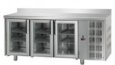 Tavolo Refrigerato 3 Porte In Vetro Con Piano E Alzatina Pr. 70 cm