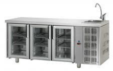 Tavolo Refrigerato 3 Porte In Vetro Con Piano E Lavello Pr. 70 cm