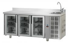 Tavolo Refrigerato 3 Porte In Vetro Con Piano Alzatina E Lavello Pr. 70 cm