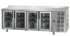 Tavolo Refrigerato 4 Porte In Vetro Con Piano E Alzatina Pr. 70 cm