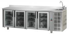 Tavolo Refrigerato 4 Porte In Vetro Con Piano Alzatina E Lavello Pr. 70 cm