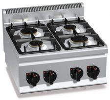 Cucina Professionale A Gas 4 Fuochi Da Banco Light Power Profondità 60 cm