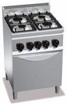 Cucina Professionale 4 Fuochi Light Power+Forno Gas Profondità 60 cm