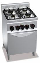 Cucina Professionale 4 Fuochi Light Power+Forno Elettrico Profondità 60 cm