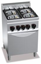 Cucina Professionale 4 Fuochi Eco Power+Forno Gas Profondità 60 cm
