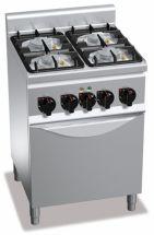 Cucina Professionale 4 Fuochi Eco Power+Forno Elettrico Profondita 60 cm