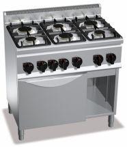 Cucina Professionale 6 Fuochi + Forno Gas Profondità 60 cm