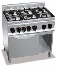 Cucina Professionale 6 Fuochi Light+Forno Elettrico Profondità 60 cm