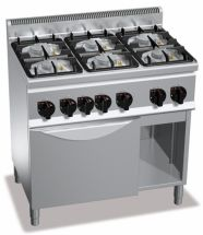 Cucina Professionale 6 Fuochi Eco Power+Forno Gas Profondità 60 cm