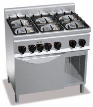Cucina Professionale 6 Fuochi + Forno Elettrico Profondità 60 cm