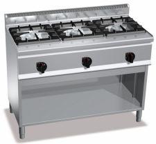 Cucina Professionale 3 Fuochi High Power In Linea Su Mobile Profondità 60 cm