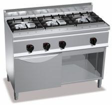 Cucina Professionale 3 Fuochi In Linea + Forno A Gas Profondità 60 cm