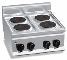 Cucina Elettrica Professionale 4 Piastre Tonde Banco Profondità 60 cm