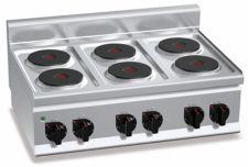 Cucina Elettrica Professionale 6 Piastre Tonde Banco Profondità 60 cm