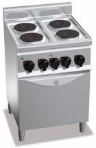 Cucina Elettrica Professionale 4 Piastre Tonde+Forno Elettrico Profondità 60 cm