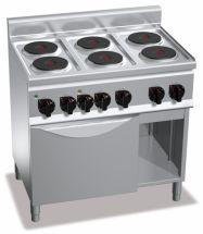 Cucina Elettrica Professionale 6 Piastre Tonde+Forno Elettrico Profondità 60 cm