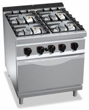 Cucina Professionale 4 Fuochi + Forno Gas Profondità 90