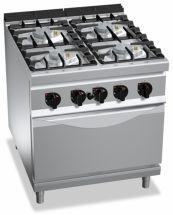 Cucina Professionale 4 Fuochi + Forno Elettrico Profondità 90 cm
