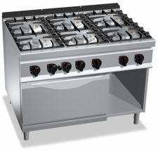 Cucina Professionale 6 Fuochi + Forno Gas Profondità 90 cm