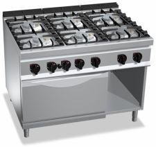 Cucina Professionale 6 Fuochi Eco Power + Forno Elettrico Profondità 90 cm