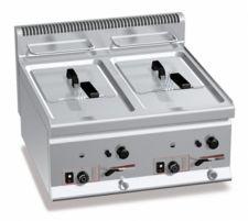 Friggitrice Professionale A Gas Da Banco Capacità 8 + 8 Lt Profondità 60 cm