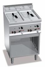 Friggitrice Professionale A Gas Su Mobile Capacità 8 + 8 Lt Profondità 60 cm