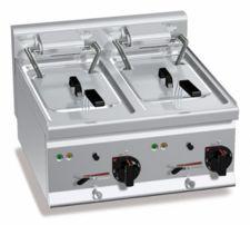 Friggitrice Elettrica Professionale Da Banco Capacità 10 + 10 Lt Profondità 60 cm