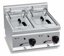 Friggitrice Elettrica Professionale Da Banco 10 + 10 Lt High Power Profondità 60 cm