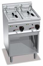 Friggitrice Elettrica Professionale Su Mobile Capacità 10 + 10 Lt Profondità 60 cm